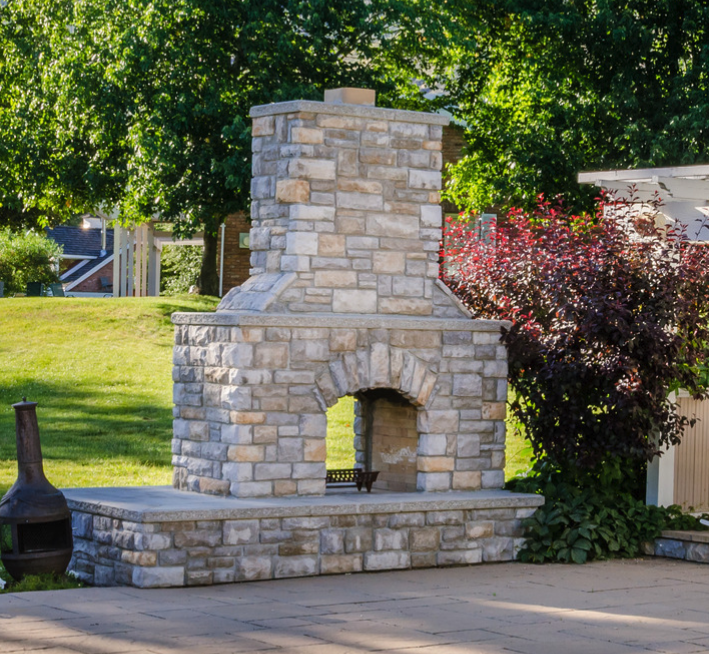 custom built free standing fireplace