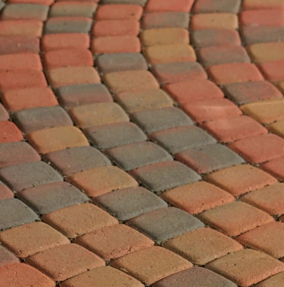 colored brick patio
